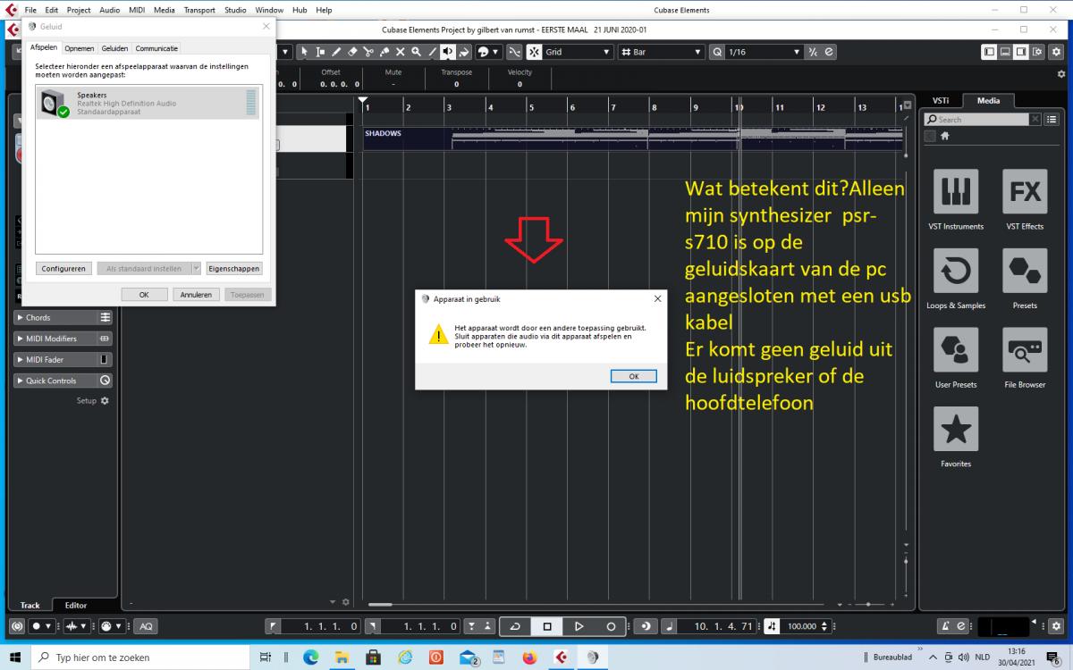 gilbert  screenshot cubase elements 10,5 geen geluid 30 april 2021.png